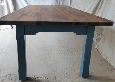 Handmade Iroko Table with Hawaiiwan Blue Legs